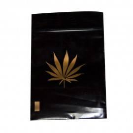 Bolsita plástico zip negra/oro leaf 6x8 cm 100und